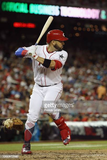 Eugenio Suarez of the Cincinnati Reds and the National League bats in the seventh inning against the American League during the 89th MLB AllStar Game...