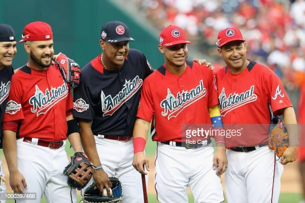 Eugenio Suarez of the Cincinnati Reds and the National League Salvador Perez of the Kansas City Royals and the American League and the American...