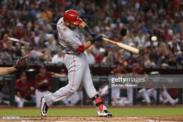 Eugenio Suarez of the Cincinnati Reds bats against the Arizona Diamondbacks during the MLB game at Chase Field on July 9 2017 in Phoenix Arizona The...