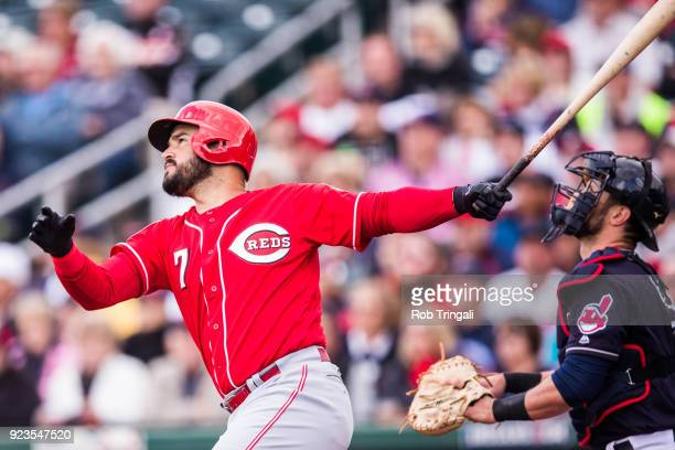 Eugenio Suarez of the Cincinnati Reds bats against the Cleveland Indians during a Spring Training Game at Goodyear Ballpark on February 23 2018 in...