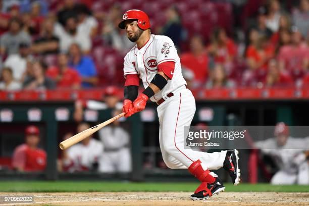 Eugenio Suarez of the Cincinnati Reds bats against the Colorado Rockies at Great American Ball Park on June 5 2018 in Cincinnati Ohio