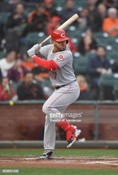 Eugenio Suarez of the Cincinnati Reds bats against the San Francisco Giants in the top of the first inning at ATT Park on May 15 2018 in San...