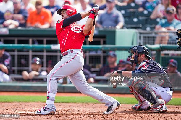 Eugenio Suarez of the Cincinnati Reds bats during a spring training game against the Cleveland Indians at Goodyear Ballpark on March 1 2016 in...