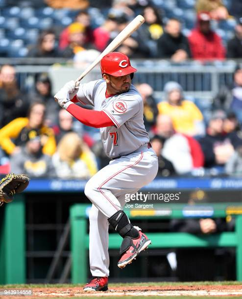 Eugenio Suarez of the Cincinnati Reds bats during the game against the Pittsburgh Pirates at PNC Park on April 8 2018 in Pittsburgh Pennsylvania