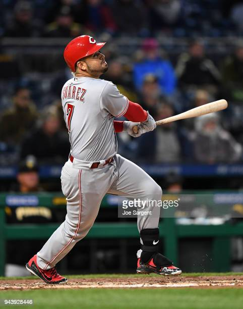Eugenio Suarez of the Cincinnati Reds bats during the game against the Pittsburgh Pirates at PNC Park on April 7 2018 in Pittsburgh Pennsylvania