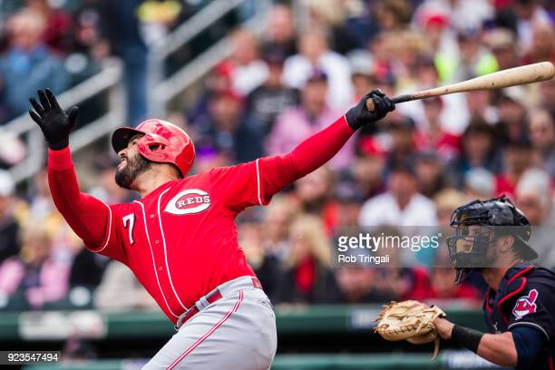 Eugenio Suarez of the Cincinnati Reds bats in the first inning against the Cleveland Indians during a Spring Training Game at Goodyear Ballpark on...