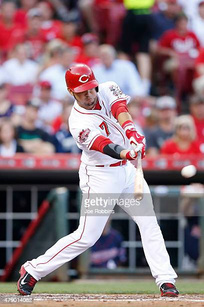 Eugenio Suarez of the Cincinnati Reds drives in two runs with a double in the third inning against the Minnesota Twins at Great American Ball Park on...
