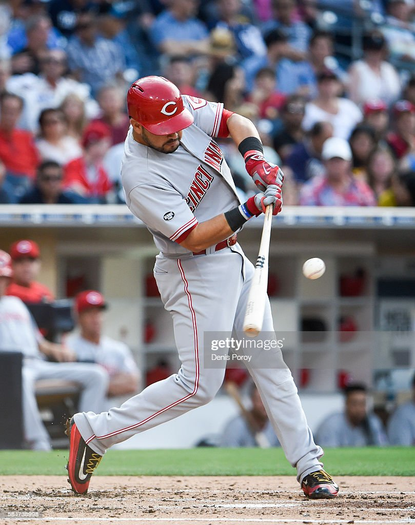 Eugenio Suarez #7 of the Cincinnati Reds hits a double during the third inning of a baseball game against the San Diego Padres at PETCO Park on July 30, 2016 in San Diego, California.