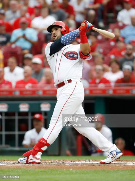 Eugenio Suarez of the Cincinnati Reds hits a two run homerun in the first inning against the Chicago White Sox at Great American Ball Park on July 3...