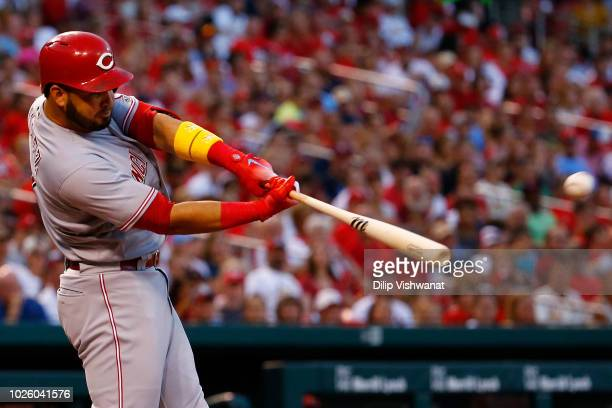 Eugenio Suarez of the Cincinnati Reds hits tworun double against the St Louis Cardinals in the fourth inning at Busch Stadium on September 1 2018 in...