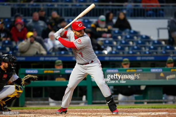 Eugenio Suarez of the Cincinnati Reds in action against the Pittsburgh Pirates at PNC Park on April 5 2018 in Pittsburgh Pennsylvania Eugenio Suarez