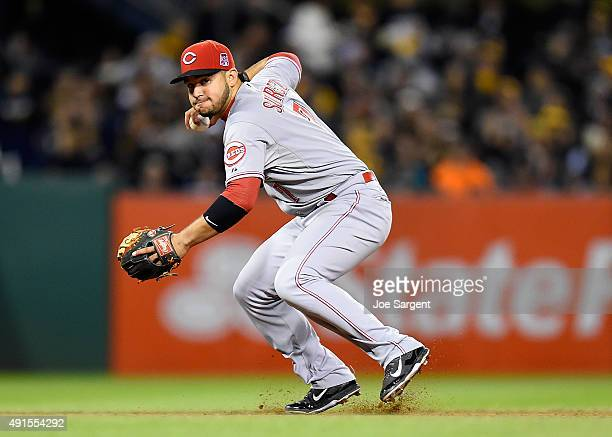 Eugenio Suarez of the Cincinnati Reds in action during the game against the Pittsburgh Pirates on October 2 2015 at PNC Park in Pittsburgh...