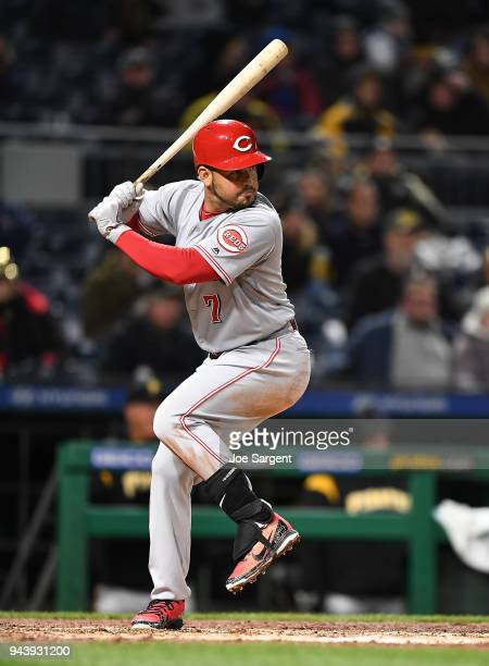 Eugenio Suarez of the Cincinnati Reds in action during the game against the Pittsburgh Pirates at PNC Park on April 7 2018 in Pittsburgh Pennsylvania