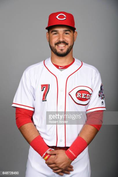 Eugenio Suarez of the Cincinnati Reds poses during Photo Day on Saturday February 18 2017 at Goodyear Ballpark in Goodyear Arizona