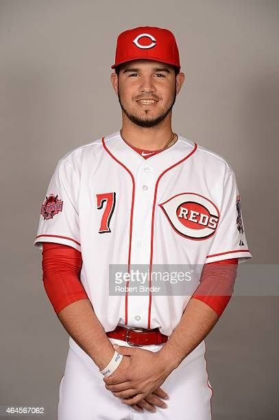 Eugenio Suarez of the Cincinnati Reds poses during Photo Day on Thursday February 26 2015 at Goodyear Ballpark in Goodyear Arizona