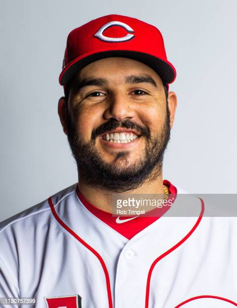 Eugenio Suarez of the Cincinnati Reds poses for a portrait at the Cincinnati Reds Player Development Complex on February 19, 2019 in Goodyear,...