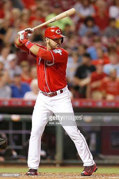 Eugenio Suarez of the Cincinnati Reds takes an at bat during the game against the Miami Marlins at Great American Ball Park on August 18 2016 in...