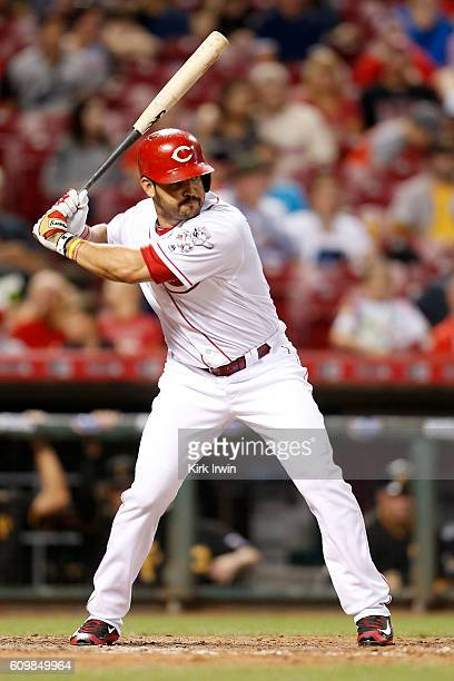 Eugenio Suarez of the Cincinnati Reds takes an at bat during the game against the Pittsburgh Pirates at Great American Ball Park on September 17 2016...