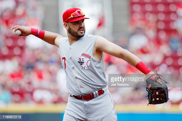 Eugenio Suarez of the Cincinnati Reds throws the ball against the Cleveland Indians in the third inning at Great American Ball Park on July 7 2019 in...