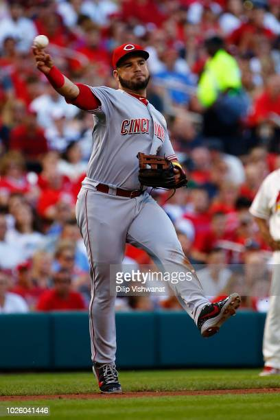 Eugenio Suarez of the Cincinnati Reds throws to first base against the St Louis Cardinals in the second inning at Busch Stadium on September 1 2018...