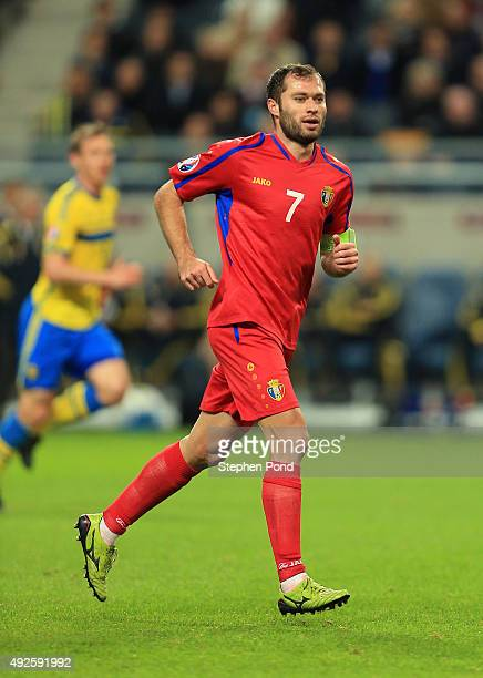 Eugeniu Cebotaru of Moldova during the UEFA EURO 2016 Qualifying match between Sweden and Moldova at the National Stadium Friends Arena on October 12...