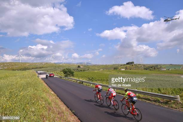 Eugert Zhupa of Albania and Team Wilier Triestina-Selle Italia / Andrea Vendrame of Italy and Team Androni Giocattoli-Sidermec / Laurent Didier of...