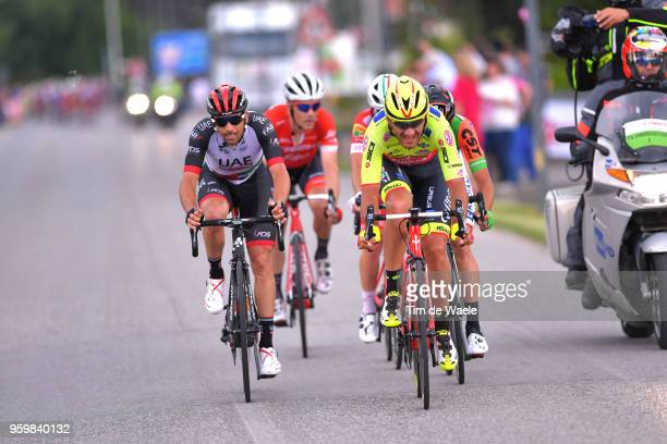 Eugert Zhupa of Albania and Team Wilier TriestinaSelle Italia / Marco Marcato of Italy and UAE Team Emirates / during the 101st Tour of Italy 2018...