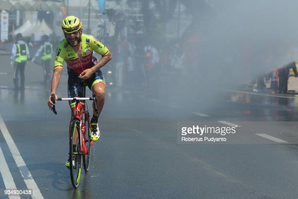 Eugert Zhupa of Wilier TriestinaSelle Italia is sprayed with water after finish during Stage 3 of the Le Tour de Langkawi 2018 Kota BharuKuala...