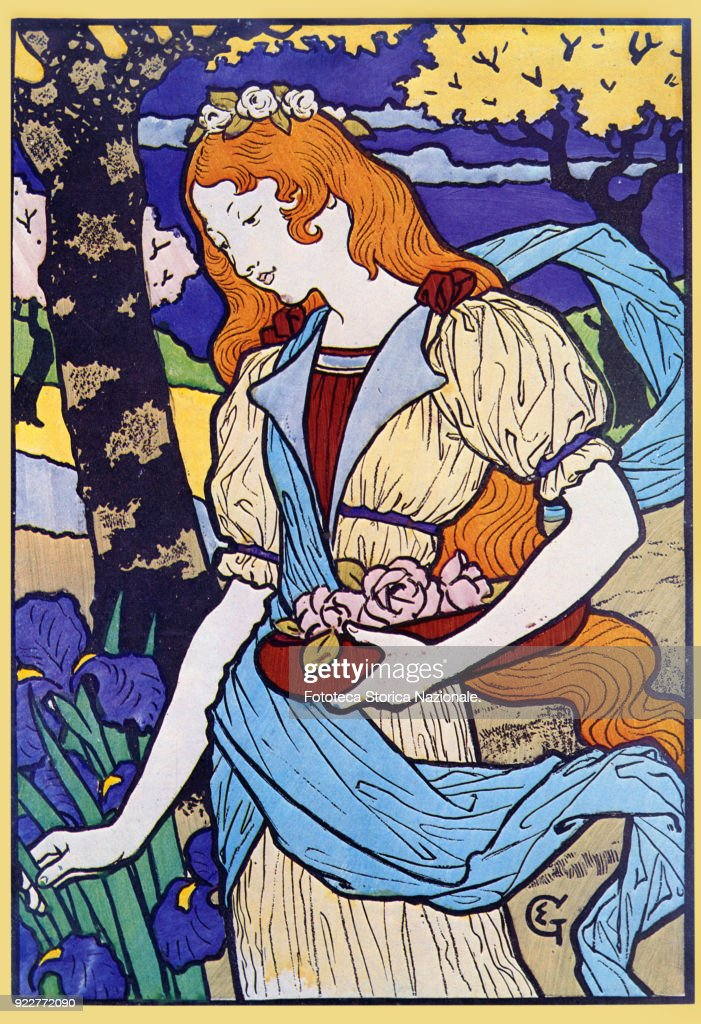 Eugène Grasset (1841-1917) 'The Spring'. Poster executed for a Decorative Art Exhibition held in Paris. Lithograph, France, Paris 1884.