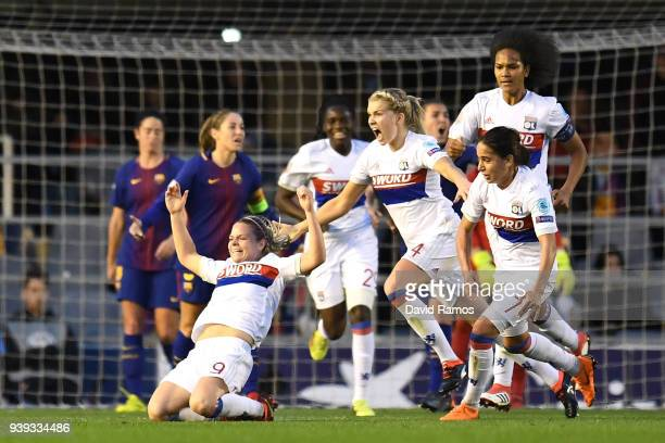 Eugénie Le Sommer of Olympique Lyon celebrates her goal during the UEFA Women's Champions League Quarter Final 2nd Leg between FC Barcelona Women v...
