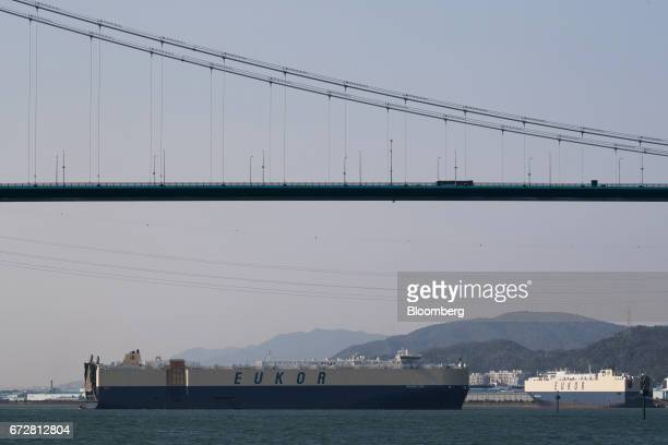 A Eukor Car Carriers Inc  roll-on/roll-off cargo ship approaches the