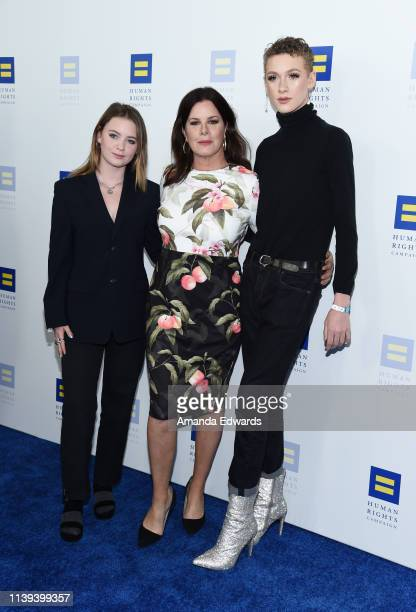 Eulala Grace Scheel Marcia Gay Harden and Hudson Harden Scheel arrive at The Human Rights Campaign 2019 Los Angeles Dinner at the JW Marriott Los...
