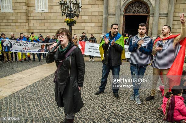 Eulalia Reguant former member of the Parliament of Catalonia seen during her speech at the end of the demonstration Third March in Barcelona by the...