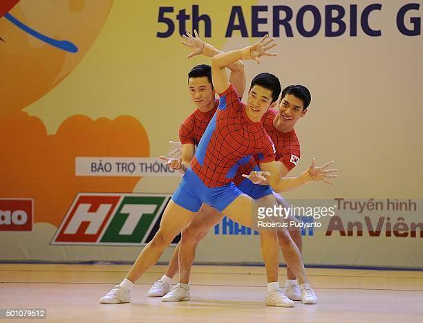 Eun Bi Lee Eun Byeol Koh and Min Ji Ryu of Korea compete in QualificationSenior Trios during the 5th Asian Aerobic Gymnastics Championships at Nguyen...