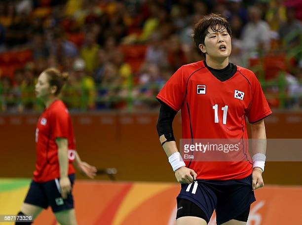 Eun Hee Ryu of Korea reacts to the loss against Sweden on Day 3 of the Rio 2016 Olympic Games at the Future Arena on August 8, 2016 in Rio de...