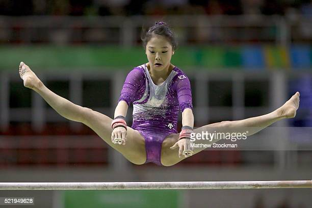 Eun Ju Lee of South Korea competes on the uneven bars during the Final Gymnastics Qualifier Aquece Rio Test Event for the Rio 2016 Olympics at the...