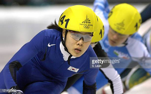 Eun Kyung Choi of Korea during the Women's 1000 m in the 2006 Winter Olympic Games at the Palavela in Torino Italy on February 22 2006