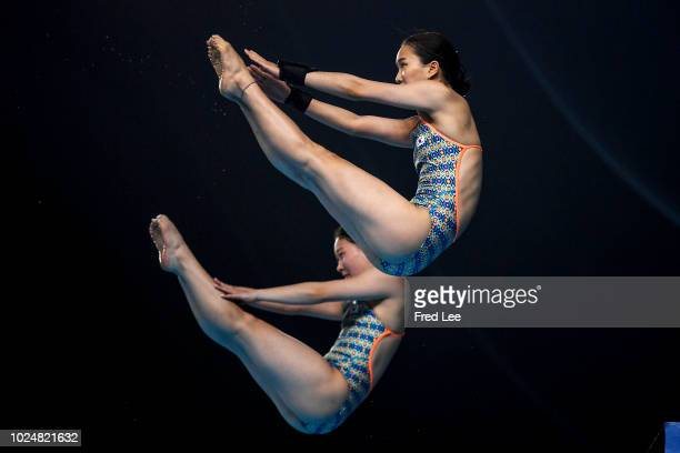 Eunbi Cho and Nayun Moon of Korea perform in the women's synchronised 10m platform event during on day ten of the Asian Games on August 28, 2018 in...