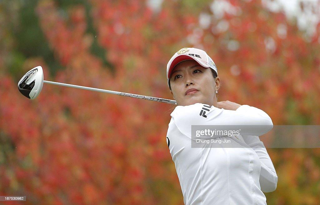 Eun-Bi Jang of South Korea hits a tee shot during the final round of the Mizuno Classic at Kintetsu Kashikojima Country Club on November 10, 2013 in Shima, Japan.