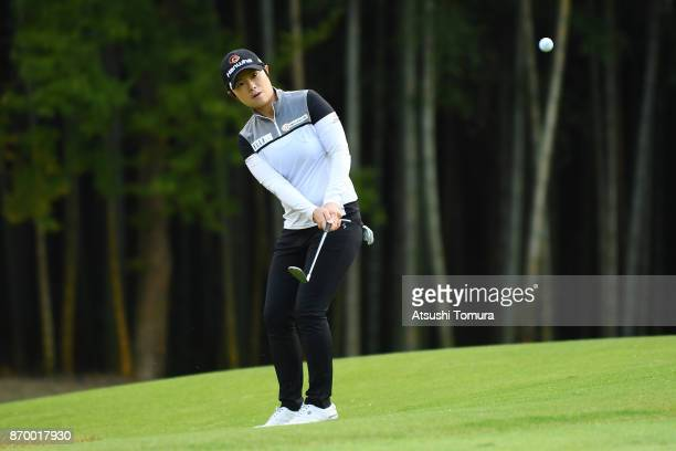 EunHee Ji of South Korea chips onto the 17th green during the second round of the TOTO Japan Classics 2017 at the Taiheiyo Club Minori Course on...