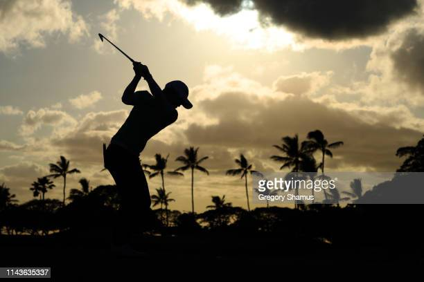 EunHee Ji of South Korea hits her tee shot on the eight hole during the second round of the LOTTE Championship on April 19 2019 in Kapolei Hawaii