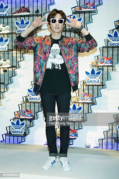 Eunhyuk of South Korean boy band Super Junior attends the store opening for Adidas Originals flagship store on July 31 2014 in Seoul South Korea