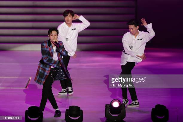 Eunhyuk of Super Junior DE performs onstage during the PyeongChang 2018 Olympic and Paralympic Winter Games 1st Anniversary Festival In Gangneung on...