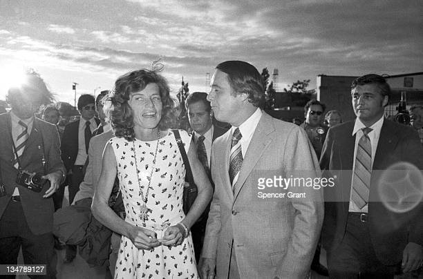 Eunice and Sargent Shriver arrive at Logan Airport East Boston Massachusetts 1972