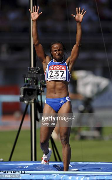 Eunice Barber of France celebrates a clearance in the heptathlon high jump in the IAAF World Championships in Athletics at Olympic Stadium in...
