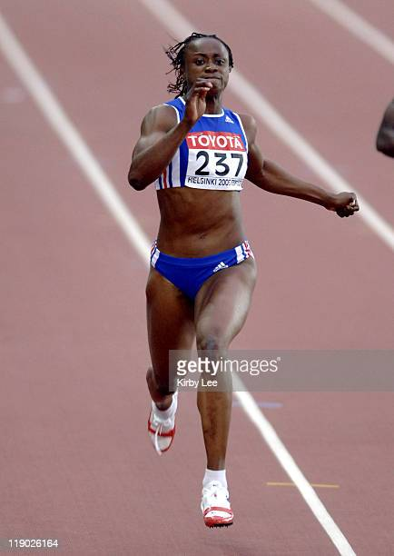 Eunice Barber of France timed 2401 in the heptathlon 200 meters in the IAAF World Championships in Athletics at Olympic Stadium in Helsinki Finland...