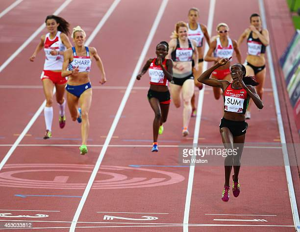 Eunice Jepkoech Sum of Kenya crosses the line to win gold in the Women's 800 metres final at Hampden Park during day nine of the Glasgow 2014...