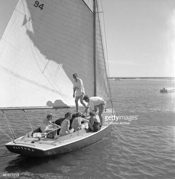 Eunice kennedy Jacqueline Bouvier Jean Kennedy Patricia Kennedy with John F Kennedy and Edward Kennedy go sailing while on vacation at the Kennedy...