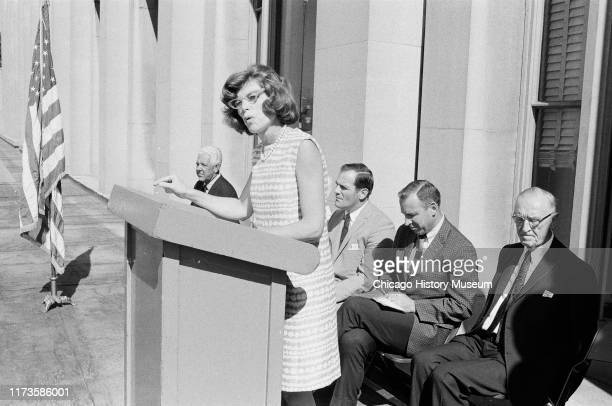 Eunice Kennedy Shriver at the Special Olympics sponsored by Chicago Park District and J P Kennedy foundation, held at Soldier Field, 1401 Museum...