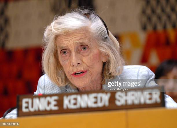 "Eunice Kennedy Shriver during Special Olympics Founder Eunice Kennedy Shriver Addresses The ""Special Olympics For Social Harmony"" Forum - November..."